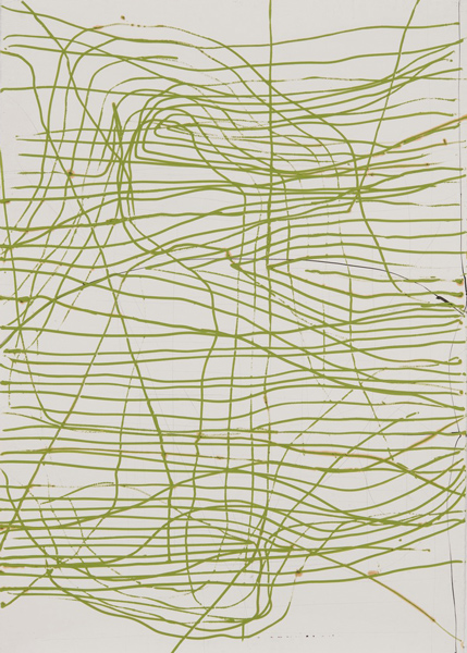 Thomas Müller – untitled, 2010, ink, oil, Arches deckle paper, 160 x 115 cm