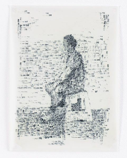 """""""10 Giugno 2010"""", 2010, date stamps with oil on polyester, 40 x 30 cm"""