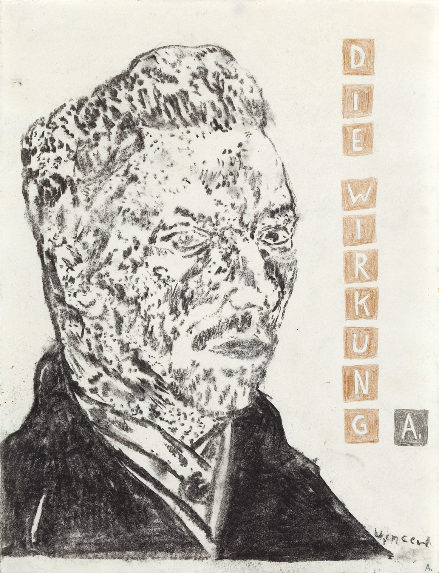 Martin Assig – St. Paul #605 –Die Wirkung, 2014, charcoal, wax on paper, 39,3 x 30,5 cm