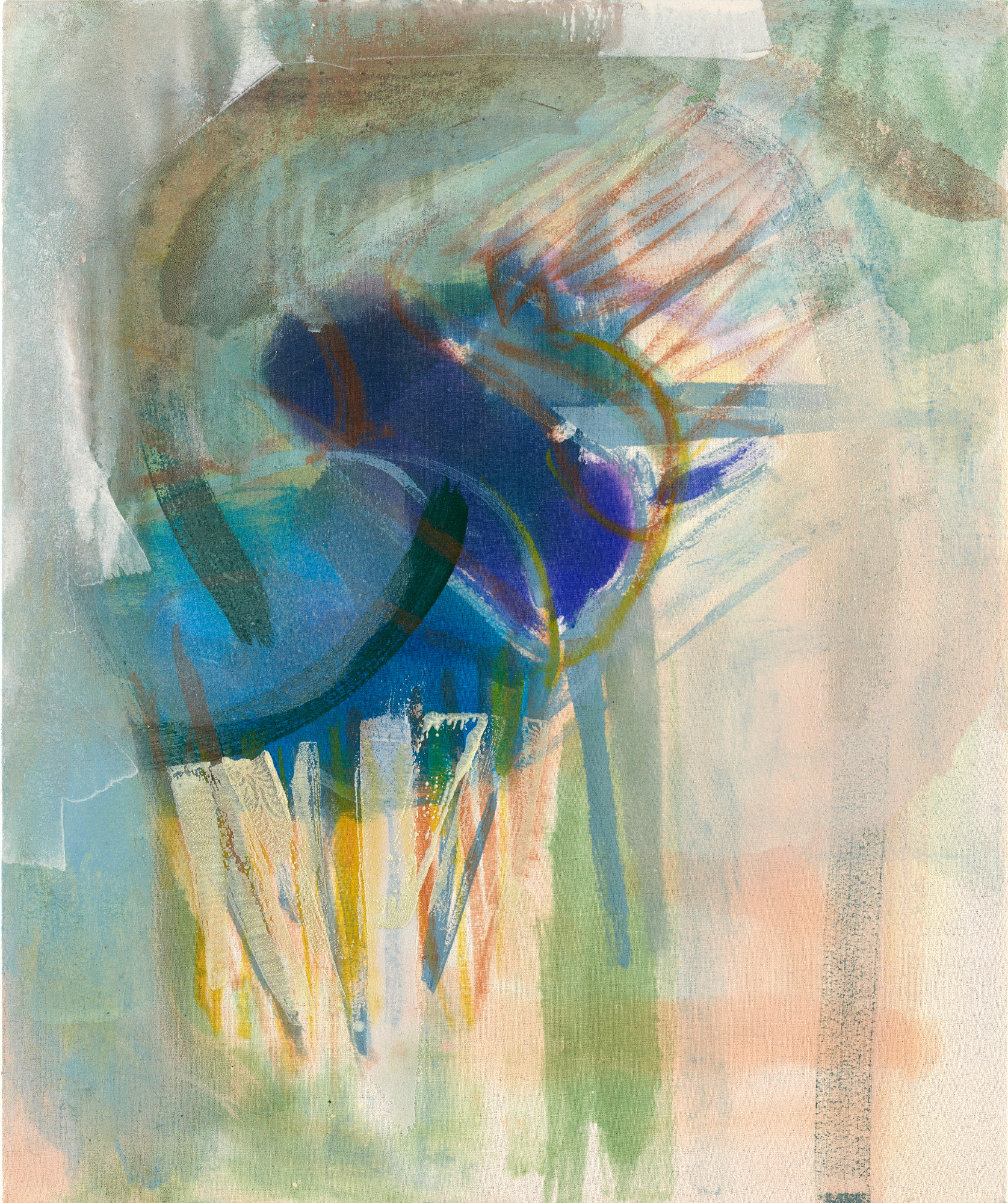 Michael Markwick – Perseverance, 2021, Acrylic and pigment on raw silk, 60 x 50 cm