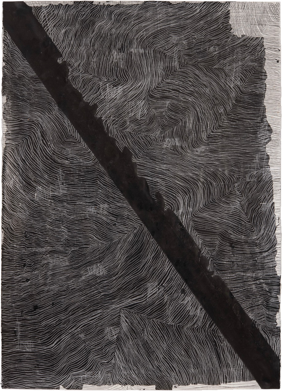 Thomas Müller – untitled, 2020, chalk, ink, silver color pencil on Arches deckle, 160 x 115 cm